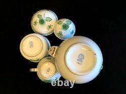Herend Porcelain Handpainted Chinese Bouquet Tea Pot, Sugar Bowl, Milk Jug