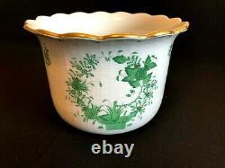 Herend Porcelain Handpainted Indian Basket Green Large Cachepot 7301/fv
