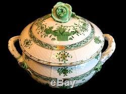 Herend Porcelain Handpainted Indian Basket Green Soup Tureen