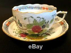 Herend Porcelain Handpainted Indian Basket Multicolor Tea Cup And Saucer 704/fd