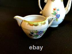 Herend Porcelain Handpainted Queen Victoria Mocha Pot, Sugar Bowl, Milk Jug