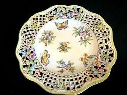 Herend Porcelain Handpainted Queen Victoria Reticulated Wall Plate 8407/vbo