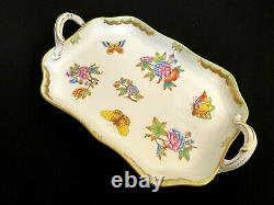 Herend Porcelain Handpainted Queen Victoria Serving Tray With Handles 422/vbo
