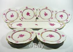 Herend, Raspberry Chinese Bouquet Dessert Service For 8, Handpainted Porcelain