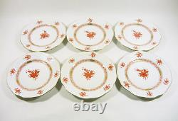 Herend Rust Chinese Bouquet Dessert Plates For Six, Handpainted Porcelain! (j181)
