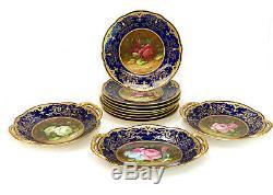 Incredibe Coalport England Hand Painted Porcelain Dessert Set for 8, Roses c1890