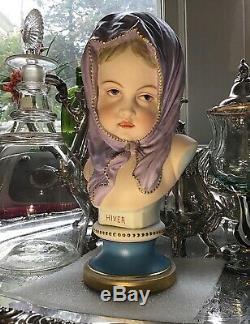 Jean Gille Vion & Baury France Hiver handpainted Porcelain Bust c. 1845-80