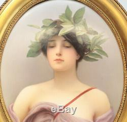 KPM Hand Painted Porcelain Oval Plaque, Daphne, Signed Meinelt, 19th Century