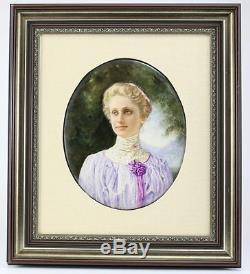 KPM Hand Painted Portrait Mary Baker Eddie on Porcelain Plaque Framed, c1900