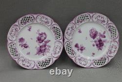 KPM Royal Berlin Porcelain Hand Painted Reticulated Plates Purple Flowers Set/12