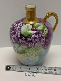 Knowles Taylor & Knowles Ktk Porcelain Hand Painted Lilacs Whiskey Jug Signed