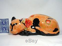 Kutani Sleeping Cat Large Porcelain Moriage Nemuri Neko Hand Painted Japanese