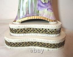 LARGE antique hand painted Sevres porcelain floral electric table vase lamp Bell