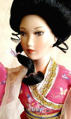 LENA LIU Porcelain Doll Ruby Maiden Life Print Japanese Kimono Dress Geisha
