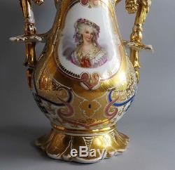 Large 17 Hand-Painted 19th C. FRENCH OLD PARIS Porcelain Vase c. 1850 antique
