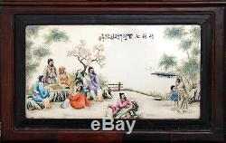 Large 1930 Antique Asian Chinese Hand Painted Porcelain Tile Painting Plaque