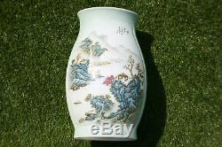 Large 20th C. Chinese Porcelain Hand Painted Picture & Writing Vase Marks