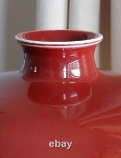 Large Antique Chinese Porcelain Langyao Monochrome Red Oxblood Meiping Vase