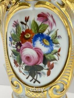 Large Antique Old Paris Porcelain Vase Hand Painted Florals Heavy Gold