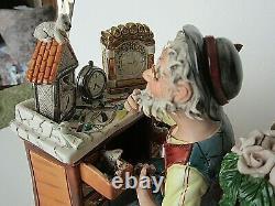 Large Capodimonte Tizian0 Galli Hand Painted Porcelain Clock Maker Figurine