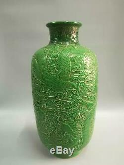 Large Chinese Green Glaze Porcelain Dragons Vases Hand-carved Marks QianLong