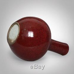 Large Chinese Red Glaze Porcelain Vase Handwork Ceramic Art Ware 27.5CM/10.8H