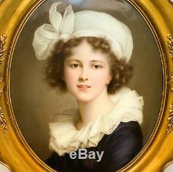 Large KPM Hand Painted Porcelain Plaque of Elisabeth Vigee Le Brun, 19th Century