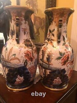 Large Pair 19th Century Imari Porcelain Floor Vases Hand painted with Gold Trim