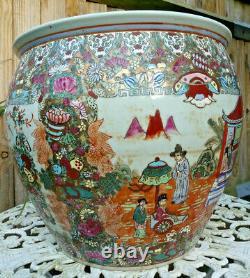 Large hand painted chinese ceramic fish bowl planter