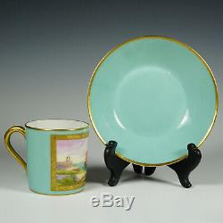 Le Tallec French Porcelain Cup & Saucer Hand Painted Sail Boat Motif Gold Trim