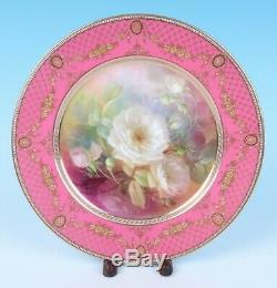 Lenox CAC WILLIAM MORLEY Hand Painted Flowers & Raised Gold Porcelain Plate