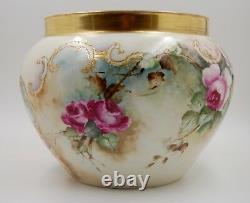 Limoges Antique France Hand Painted Porcelain Jardiniere Vase Roses Hugeee