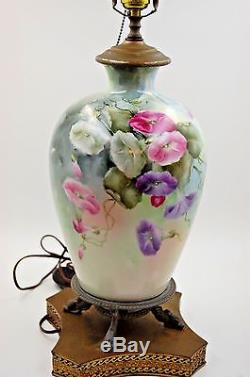 Limoges Antique France Hand Painted Porcelain Lamp Gorgeous Flowers