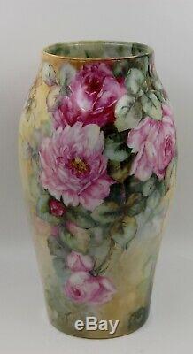 Limoges Antique France Hand Painted Porcelain Vase GorgeousRoses12.5