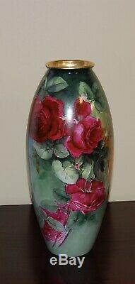 Limoges Antique France Hand Painted Porcelain Vase GorgeousRoses15