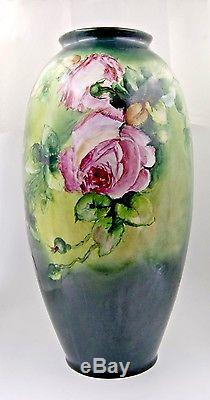 Limoges Antique France Hand Painted Porcelain Vase GorgeousRoses21