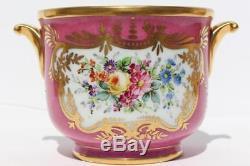 Limoges France Porcelain Bowl Hand Gilt Painted Sevres Decor Flowers Pink Ground