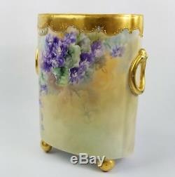 Limoges William Guerin Porcelain Hand Painted Cache Pot Jardiniere Pre 1891
