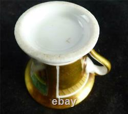 M017 Antique Old Paris Porcelain Miniature Gold Hand Painted Cup & Saucer