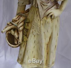 Magnificent 1900 Art Nouveau Amphora Hand Painted On Porcelain Figurine 251/2h