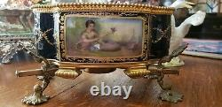 Magnificent 1900 French Sevres style Bronze Hand Painted Porcelain Center Piece