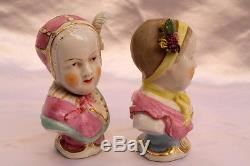 Magnificent 19c German Pair Of Meissen Porcelain Hand Painted Figurines