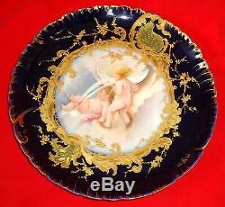 Marvellous Antique Porcelain Limoges Plate Hand Painted Blue Cobalt Sevres Baby