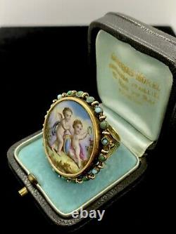 Massive French Victorian 14K yellow gold Hand Painted Cherub Porcelain ring