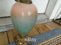 Matching Pair of Vintage Ornate Hand Painted Porcelain Ewer Lamps Floral Pitcher