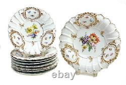 Meissen Germany Hand Painted Porcelain Dessert Service for 8, c1900