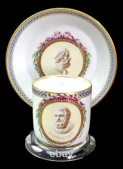 Meissen Porcelain Hand Painted Philosophers Sophocles Homer Cup and Saucer