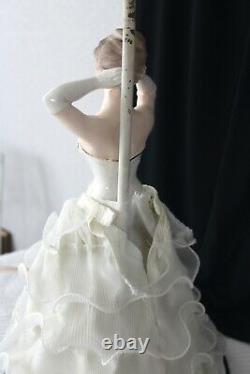 Mid Century Porcelain Lady Figurine Boudoir Table Lamp Fabric Skirt Hand Painted
