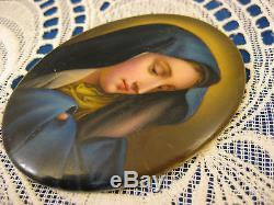Miniature Portrait Plaque MADONNA IN BLUE Hand Painted Porcelain Antique