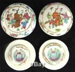 N531 Two Antique Chinese Famille Rose Porcelain Scholars Seal Paste Box Yinniye